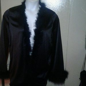 Other - Plus size 1x Satin/Marabou Feather Robe